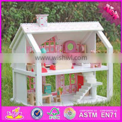 2016 top fashion kids wooden doll house toy, lovely children wooden doll house, princess diy wooden doll house W06A041-J7