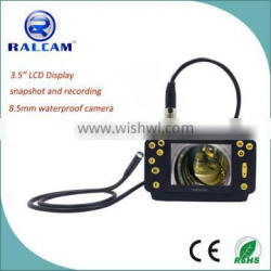 3.5 inch LCD display 8.5mm flexible probe 4 times zoom video borescope with rechargeable battery