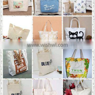 Alibaba hot sale promotional 100% cotton shopping bag white portable recyclable shopping cotton bag