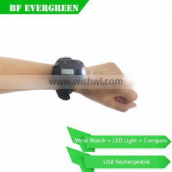 Waterproof Outdoor Rechargeable Wrist LED Torch Compass Light