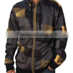 Wholesale 100% polyester sublimated casual wear front zipper hoodies