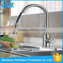 OEM&ODM deck mounted single handle brushed treatment 304 stainless steel kitchen faucet pull out