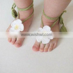 Hot sales! high quality cute baby wool crochet barefoot sandals
