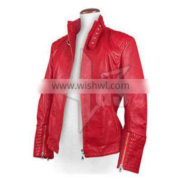 women leather jackets / red nappa leather jacket
