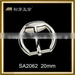 Silver plated round shaped Heel bar buckle pin belt buckle