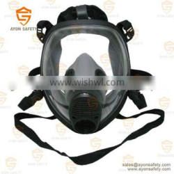 Black Spherical full face gas mask with EN148 single/double connector with anti fog lens-Ayonsafety