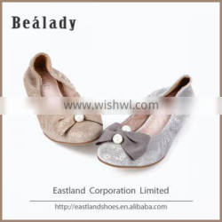 Factory customized fashion new rubber outsole glitter leather upper women shoes flat