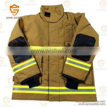 PBI yellow Flame retardant fire fighter clothing with 3m reflective stripe Aramid material EN 469 standard-Ayonsafety