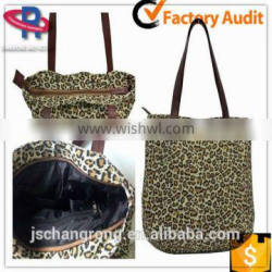 China canvas beach tote bag with leopard print