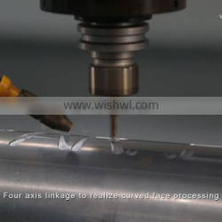 4-axis CNC Aluminum machining center for pipe tube drilling milling with rotary table