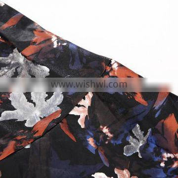 2015 UK Spring new collection flower pirnt PU top & skirt