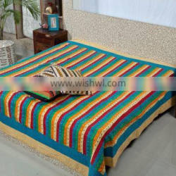 Top grade royal 100% cotton king size Jaipuri Bedsheets with Pillow Cover