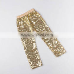 Gold Sequin High Waist Baby Girl Cotton Leggings Sequin Pants For Kids