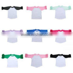 Wholesale 2016 hot sale popular children icing shirts baby ruffle raglan shirt toddler girl boutique tops
