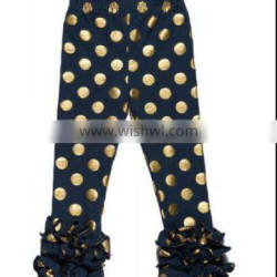 china product and alibaba low price wholesale 2016 new design gold polk dots leggings with ruffle