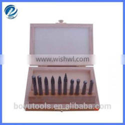 10pcs HSS rotary burrs set in wooden case