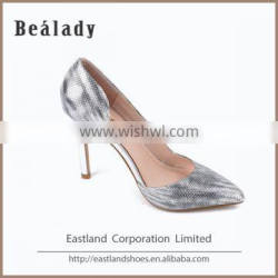 Wholesale high quality fashion high heel 10cm glitter leather upper rubber outsole pump shoes