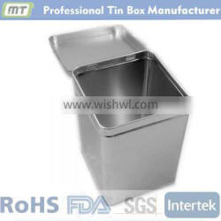 square metal tin can with lid
