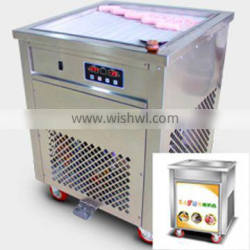 Portable two plates ice cream rolls maker with wheels for street cart business