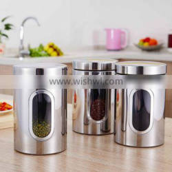 Custom Stainless Steel Tea Coffee Candy Storage Canister With Window