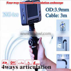 Car maintenence detection tool 4ways articulating video borescope videoscope 3.9mm Industrial endoscope with Joystick control