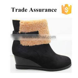 ladies fur lined wedge heel boots fashion brand ankle boot brown