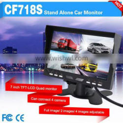 super clean image car 7 inches lcd monitor can connect 4 camera