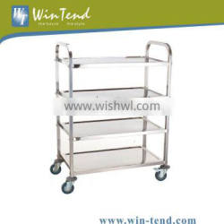 Stainless Steel 4-Tier Square Tube Book Trolley