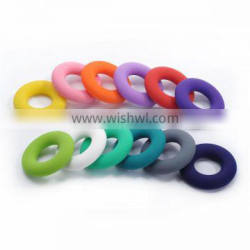 Fashion design donut shaped baby teether bpa free silicone teething pendant for baby chewing