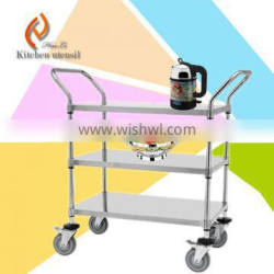 3 tires european standard 20KG loading weight commerical stainless steel kitchen food delivery trolley cart