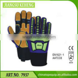 OILFIELD & GAS TPR IMPACT SAFETY GLOVES / COW SPLIT LEATHER FULL PALM / IMPACT RESISTANCE EN388 CERTIFIED GLOVES
