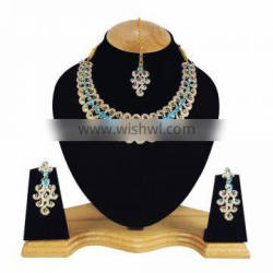 Designer Gold Plated Indian Handmade Party wear Kundan Zerconic Necklace set Turquoise Color
