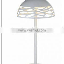 bedside table with G9 led light in laser cut white painted shade