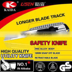 18mm Snap Off Blade Zinc alloy utility knife with longer blade track