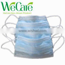 Non woven surgical blue 3-ply face mask with earloop for hospital