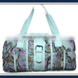 Cheap polyester tote bag with leather trim