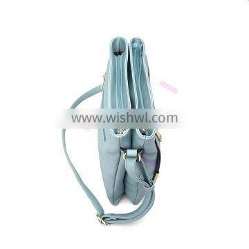 Fresh style metal detail front double layer sky blue chic cross body bags women