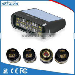 Wireless solar Tire Pressure Monitoring System with Solar Power Panel display the Pressue and Temperature,bluetooth TPMS