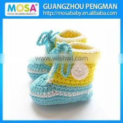2014 Fashion Crochet Baby Girl 0-2 Year Lace Up Shoes Handmade Booties blue and Yellow