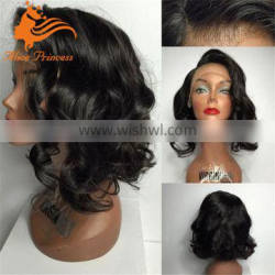 Short Glueless Full Lace Human Hair Wigs Wavy Brazilian Virgin Hair Full Lace Wigs For Black Women Side Part Wig With Baby Hair