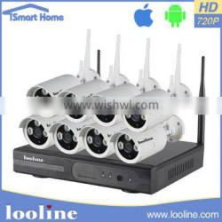 Looline Wireless Outdoor Security System 8CH 720P@20fps video input and 8CH playback NVR Kit