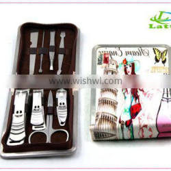 New Fashion Nail Care Kit Personalized Leather Case 8pcs Manicure Set