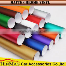 Car wrapping Matte Metallic Chrome Vinyl Wrap Sheets With Air Free Bubbles