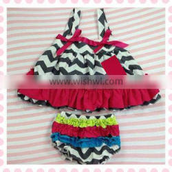 NEW design cotton chevron swing top set cotton top withe cotton bloomer for baby