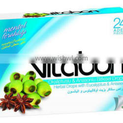VitaBon Cough Drops with Eucalyptus and Aniseed Extract Hard Perfect Import Candy ...