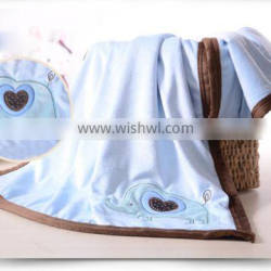 Eco-friendly embroidery cartoon designs microfiber double layers minky baby blanket