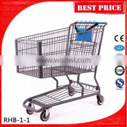 180L Large Wire Metal Shopping trolley With Child Seat and belt