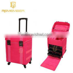 New Design Fashion Professional Nylon Makeup Trolley Artist Case With Drawers makeup brushes