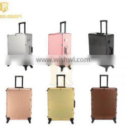 2016 Popular Black Professional Aluminum Trolley Cosmetic Makeup Case with Lighted Mirror and Legs make up cosmetics