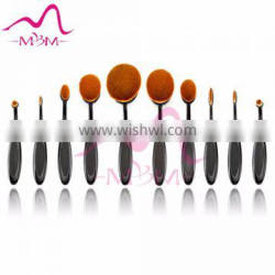 Oval shape black tooth brush cosmetic makeup brushes 10 piece with case